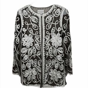 Victor Costa Sheer Embroidered Jacket Size XS